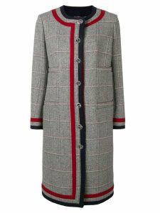 Thom Browne Grey Tweed Cardigan Overcoat - Blue