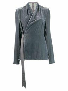Rick Owens velvet wrap blouse - Blue