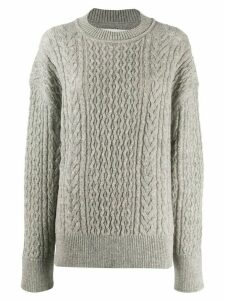 Jil Sander crew neck cable knit sweater - Grey