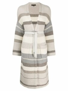 Loro Piana long belted cardigan - NEUTRALS