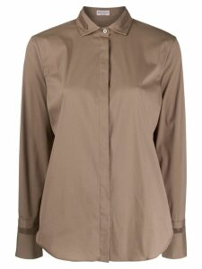 Brunello Cucinelli embellished collar shirt - Brown