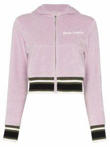 Palm Angels cropped logo hoodie - PURPLE