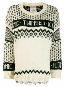 Twin-Set logo knit jumper - White