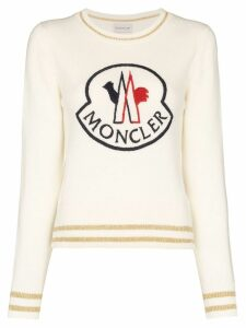 Moncler logo-embroidered jumper - White