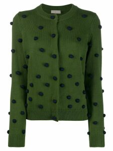 Tory Burch straight-fit pompom cardigan - Green