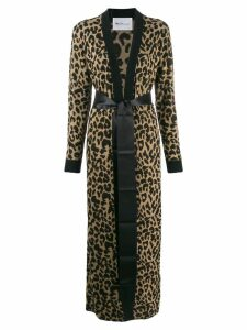 be blumarine leopard print cardigan coat - Brown