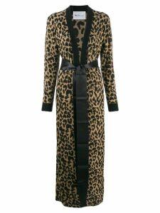 be blumarine leopard print cardigan coat - Brown