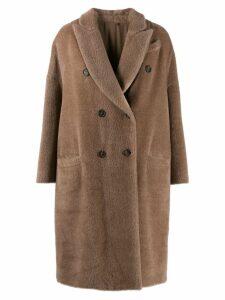 Brunello Cucinelli double breasted fur coat - Brown