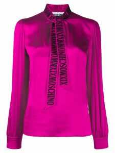 Moschino embroidered logo pussy bow blouse - PINK