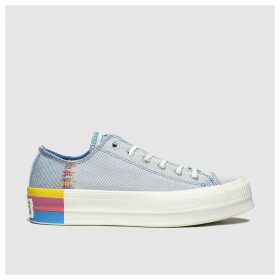 Converse White & Blue All Star Lift Rainbow Ox Trainers
