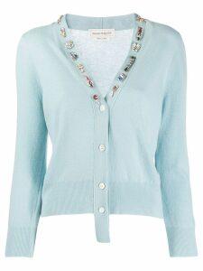 Alexander McQueen embellished V-neck cardigan - Blue