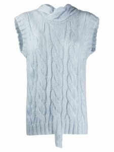 Prada open back knit tank top - Blue