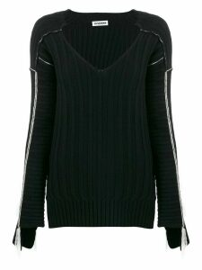 Jil Sander contrast detail ribbed knit jumper - Black