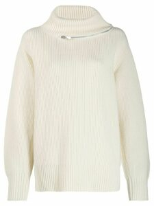 Sacai zip trim roll neck jumper - White