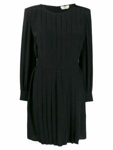 Fendi square shoulder pleated dress - Black