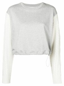 3.1 Phillip Lim Cabled-Sleeve Sweatshirt - Grey