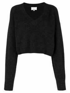 3.1 Phillip Lim Cropped V-Neck Sweater - Grey