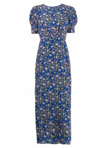 Saloni floral bud print dress - Blue