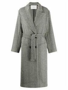 Tela Herringbone double-breasted coat - Black