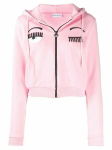 Chiara Ferragni winking cropped hoodie - Pink