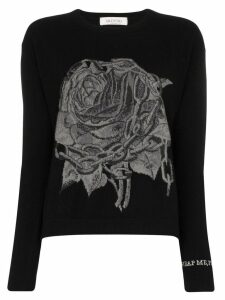 Valentino rose chain intarsia jumper - Black