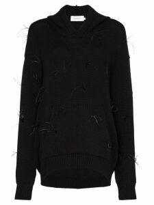 Marques'Almeida maled feather-appliqué jumper - Black