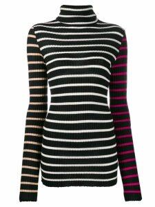 Nude striped turtleneck jumper - Black