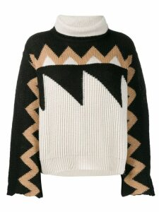 Nude roll neck patterned jumper - NEUTRALS