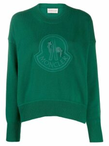 Moncler logo embroidered jumper - Green