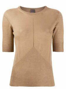 Lorena Antoniazzi short-sleeved knit top - NEUTRALS