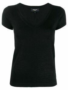 Paule Ka short-sleeved V-neck pullover - Black