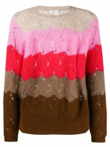 Closed striped eyelet sweater - PINK