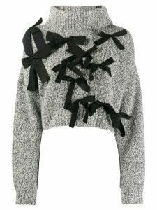 Brognano bow-embellished cropped jumper - Grey
