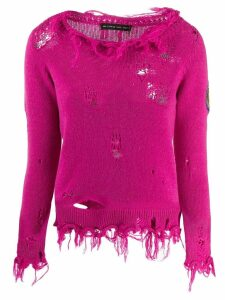 Etro distressed knitted sweater - PINK