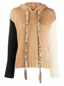 Alanui colour-block hooded jumper - NEUTRALS