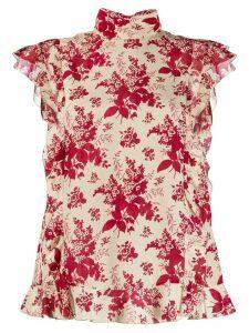 RedValentino REDValentino ruffle detail floral blouse
