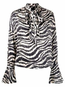 Just Cavalli animal print pussy bow blouse - Black