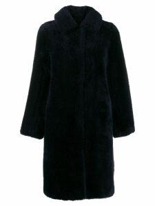 Yves Salomon Meteo teddy bear coat - Blue