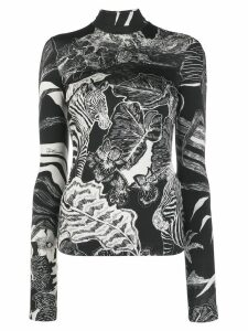 Just Cavalli printed roll neck top - Black