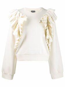 Just Cavalli ruffle monogram jumper - White