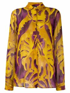 Just Cavalli leaf pattern drape shirt - Yellow