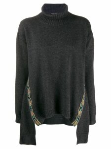 Etro embroidered trim poncho - Grey