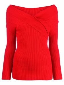 Paule Ka ribbed off-the-shoulder jumper - Red