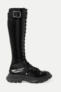 Alexander McQueen - Glossed-leather Exaggerated-sole Knee Boots - Black
