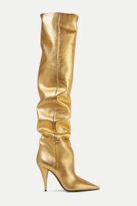 SAINT LAURENT - Kiki Metallic Leather Over-the-knee Boots - Gold