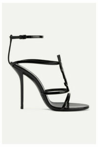 SAINT LAURENT - Cassandra Logo-embellished Patent-leather Sandals - Black