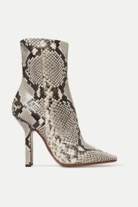Vetements - Boomerang Snake-effect Leather Ankle Boots - Snake print