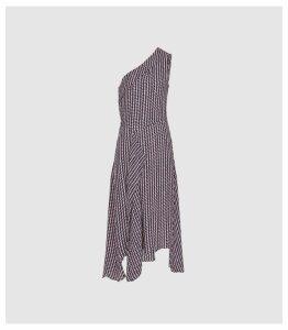Reiss Nia - Printed Asymmetric Midi Dress in Berry, Womens, Size 16
