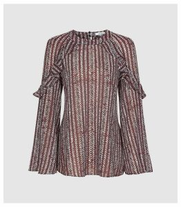 Reiss Adelaide - Printed Ruffle Detail Blouse in Berry, Womens, Size 16