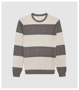 Reiss Pete - Striped Crew Neck Jumper in Brown, Mens, Size XXL